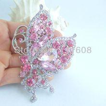 Подвеска-бабочка Элегантная Брошь-бабочка булавка w Розовый кристалл горного хрусталя EE04234C4