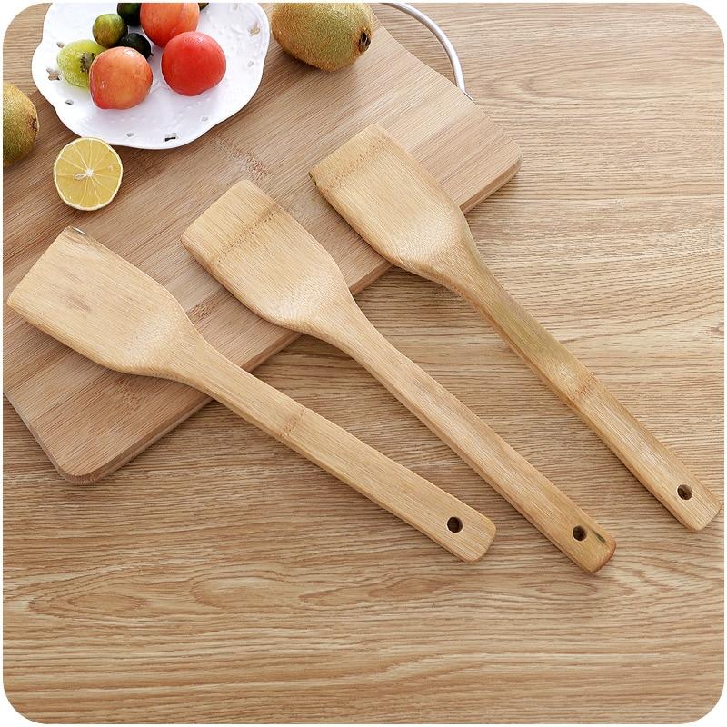 1 pz di Salute Naturale di Legno di Bambù Cucina Intaglio Spatola Cucchiaio di Miscelazione Titolare Utensili Da Cucina Cena Cibo Wok Pale Forniture
