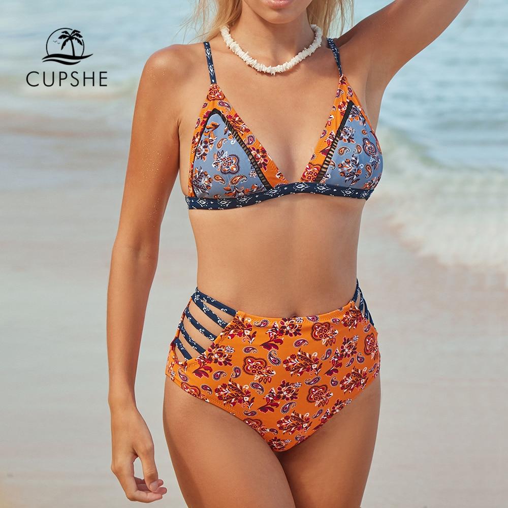 CUPSHE Flora Print High-waisted Bikini Set Women Strappy Triangle Bra Top Cutout Two Pieces Swimwear 2020 Girl Beach Swimsuits