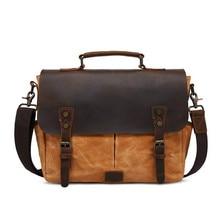 цена на New Waterproof Wax Canvas Messenger Bag for Men High Quality Crazy Horse Leather Belt Laptop Business Handbag Retro Briefcase