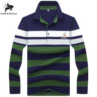 Polo Shirt Men Hot Sales Cotton Long Sleeve Polos Shirts High Quality Striped Homme Pull M XXXL Brand Clothing