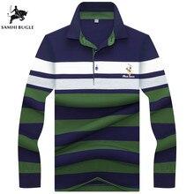 afe14465386b1 Camisa pólo Homens Vendas Quentes de Algodão Polos De Manga Longa Camisas  Listradas Alta Qualidade Homme
