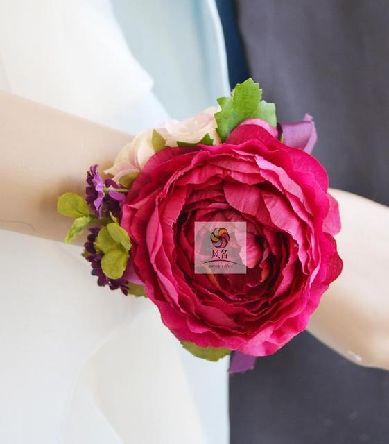 Wedding flower red silk flower artificial bride bridesmaid hand wedding flower red silk flower artificial bride bridesmaid hand wrist corsage party prom decor girl bracelet mightylinksfo