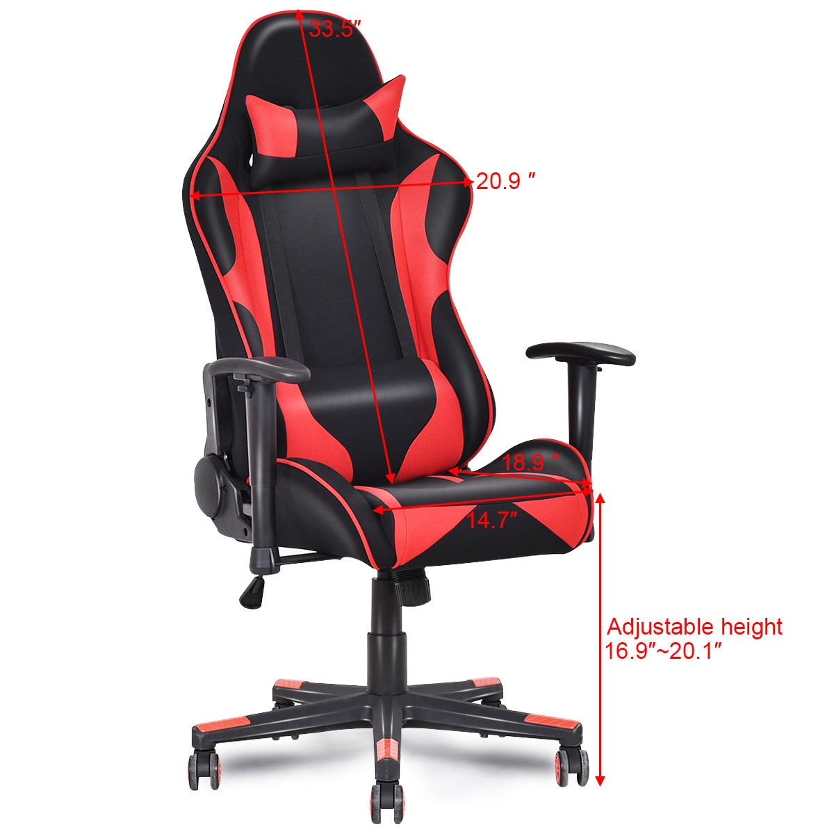 giantex racing style high back recliner gaming chair modern mesh