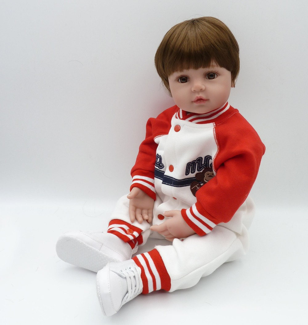 "Здесь продается  Pursue 22""/56 cm Handsome Baseball Reborn Girls Boies Doll Toy Brown Eyes Silicone Limbs Cloth Body Sports Child Great Gifts Fun  Игрушки и Хобби"