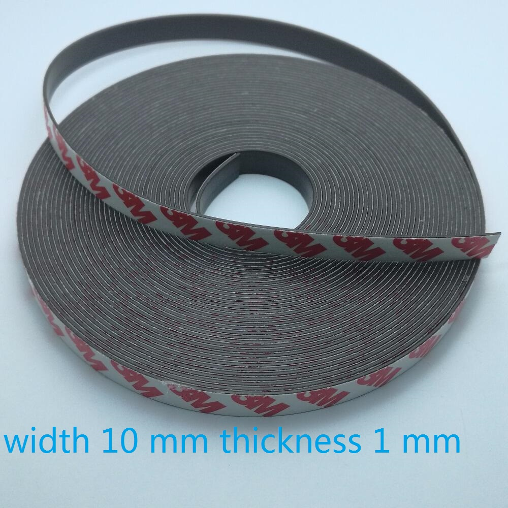 10 Meter Rubber Magnet 10*1 mm self Adhesive Flexible Magnetic Strip Rubber Magnet Tape width 10 mm thickness 1 mm  10mm x 1mm-in Magnetic Materials from Home Improvement