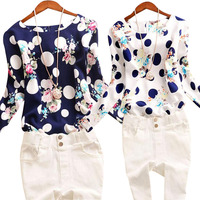 2016 Autumn new women's wave point printing round neck long-sleeved  shirt blouses shirt large size women