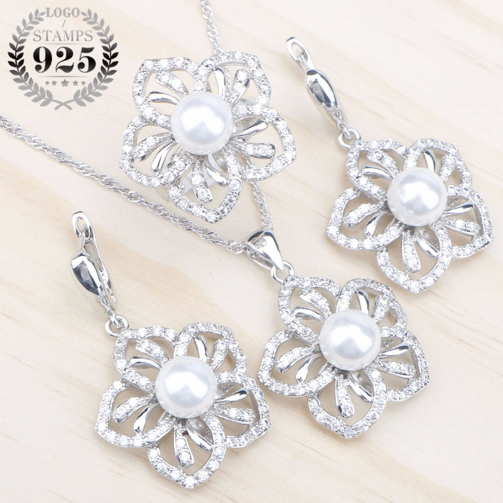 White Zircon Natural Pearls 925 Silver Jewelry Sets Women Earrings With Stones Pendant&Necklace/Rings Set Jewelery Gift Box