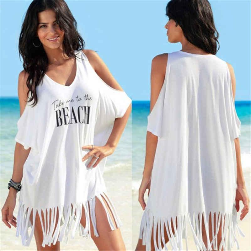 جديد السيدات الصيف النساء كبيرة ملابس السباحة عارضة شرابة قبالة الكتف شير شاطئ ماكسي التفاف اللباس ردائه صوفية
