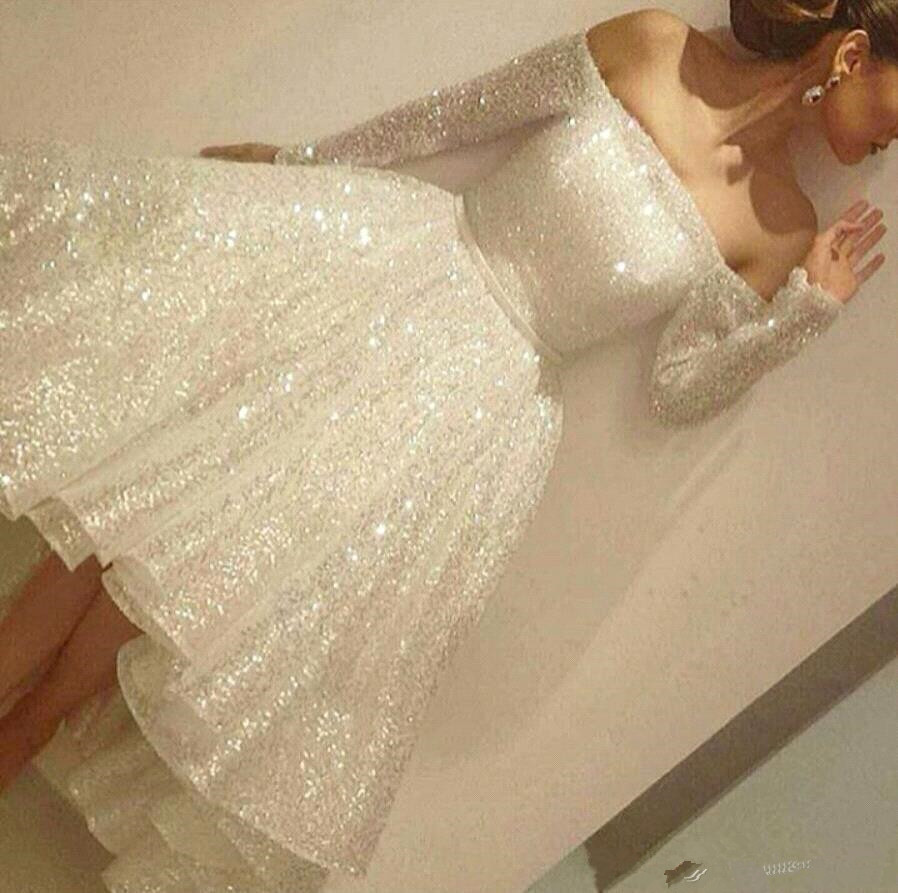 New Sparkly Sequined Short   Cocktail     Dresses   Off the Shoulder Long Sleeves Open Back Tea Length Short Prom   Dress   Arabic Formal