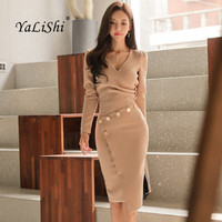 Women 2 Piece Asymmetrical Dress 2017 Autumn Office V Neck Long Sleeve Bandage Bodycon Dresses Slim