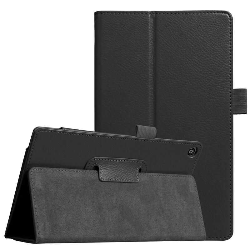 Delgado plegable del cuero del soporte de la PU para Amazon Kindle Fire HD 8 2017 Tablets funda protectora folio Flip cubierta + protector de pantalla + pen