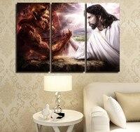 HD Imprimé 3 Pièce Jésus Christ Bras de fer avec Diable Peinture Cène Wall Art Toile Livraison Gratuite