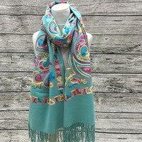 Высококачественный кашемир шаль вышивка женский национальный ветер вышитые шарфы шали кашемира шарфы оптовых производителей