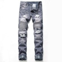 Men Jeans Stretch Classic Cowboys Casual Fashion Skinny Jeans Slim Men Trousers Motorcycle Biker Hip Hop Denim Pants Hole Jeans цены