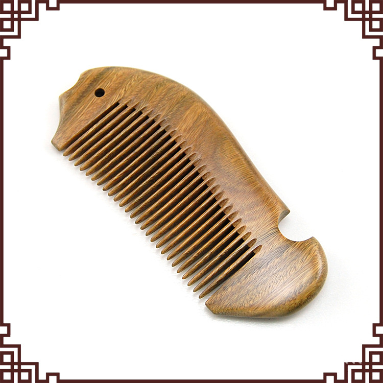 SW12 boutique fish-shaped green sandalwood comb Authentic natural wooden comb