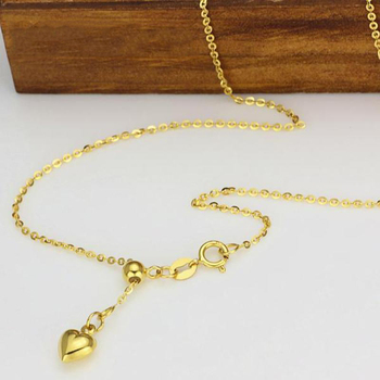 New Au750 Pure 18K Yellow Gold Chain Women O Link Necklace Adjustable 18inch 3