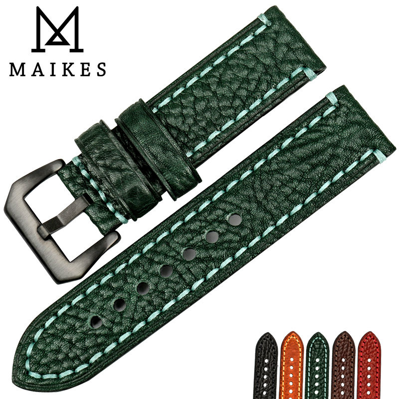 MAIKES 20mm 22mm 24mm 26mm Italian genuine leather watchbands green watch strap soft leather watch band for brand watch bracelet maikes 18mm 20mm 22mm watch belt accessories watchbands black genuine leather band watch strap watches bracelet for longines