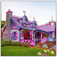 5D Diy Diamond Painting Cross Stitch Colored Houses & Lawns Needlework Embroidery Full Round Mosaic Decoration Resin Kit