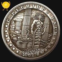 Greek Mythology Gorgon Medusa Commemorative Coin One Dollar Brass Silver Coins Collectibles Wisdom Snake Goddess Medusa Coins цена и фото