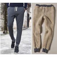 Thick Fleece Jogger Mens Pants Cotton Trousers Male Winter Warm Velvet Sweatpants Tracksuit Joggers Autumn Winter casual pants