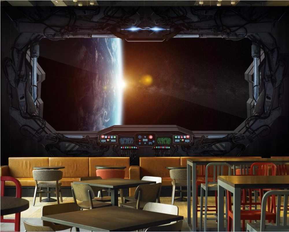 Ozel Duvar Resmi 3d Odasi Duvar Kagidi Evren Kapsul Uzay Araci