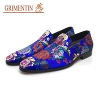 Grimentin повседневная обувь мужская Роскошная без шнуровки синий мужской обувь модные дизайнерские обувь в деловом стиле