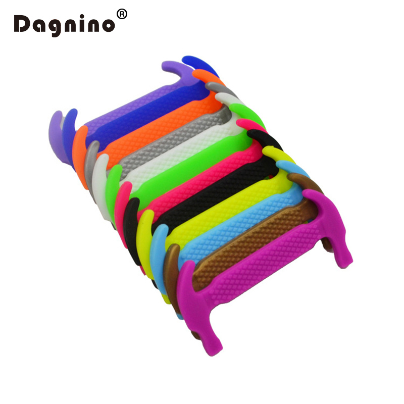 DAGNINO 12pcs/lot New Children No Tie Silicone Sneaker Lazy Laces Running Colorful Athletic Shoe String Elastic Shoelaces Blue 12pcs set silicone children adult running no tie shoe lace sneakers solid color lazy elastic latchet adult running no tie shoe