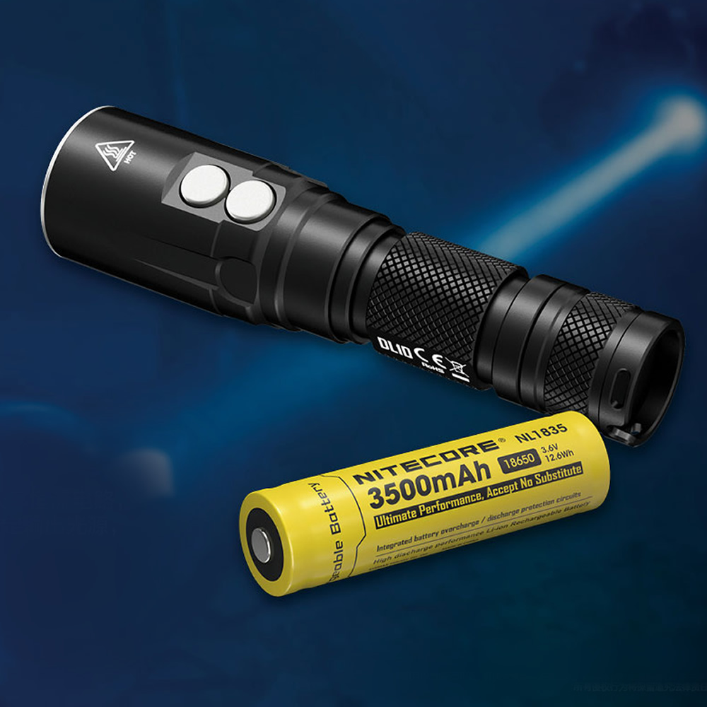 NITECORE DL10 Diving Light 1000 Lumen CREE XP-L HI V3 LED Flashlight +18650 Rechargeable Battery Underwater 30M WaterProof Torch