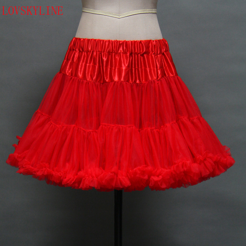 Girls fluffy 40cm length red black white color pettiskirt for Fluffy skirt under wedding dress