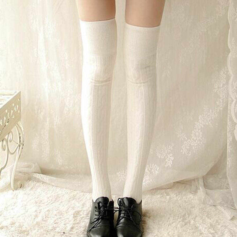 1200aa2351a ... 2019 Woman Lady s Wool Braid Over Knee Socks Thigh Highs Hose Stockings  Twist Warm Winter ...
