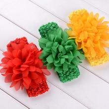 Yundfly 18 Colors Girls Crochet Headband Chiffon Flower Headbands Chic Hair Weave Band Kids Headwear Hair Accessories