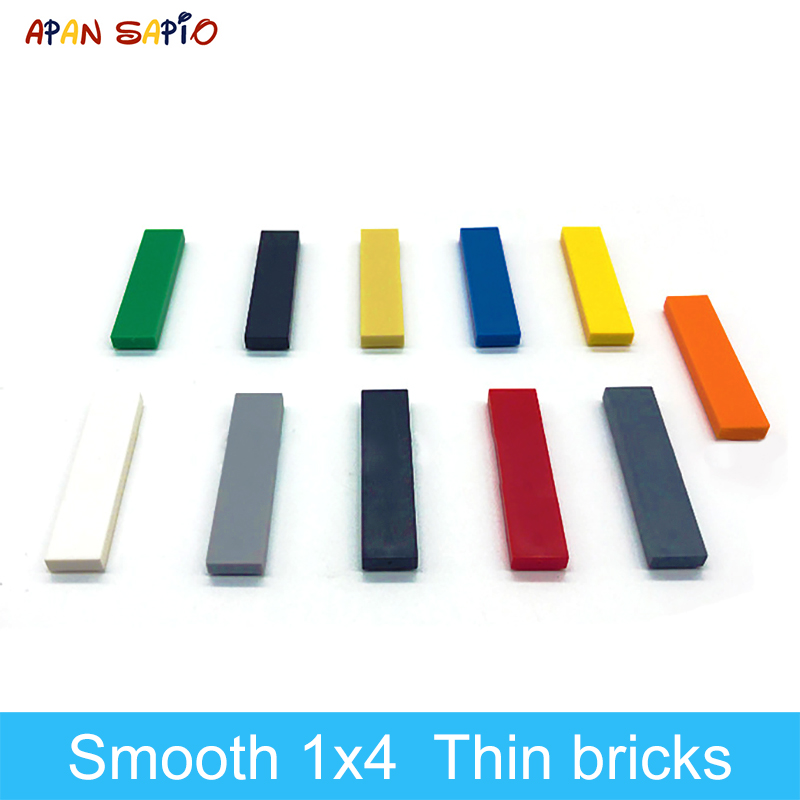 DIY Building Blocks Thin Figure Bricks Smooth 1x4 140PCS 10Colors Educational Creative Compatible With Legoe Toys For Children