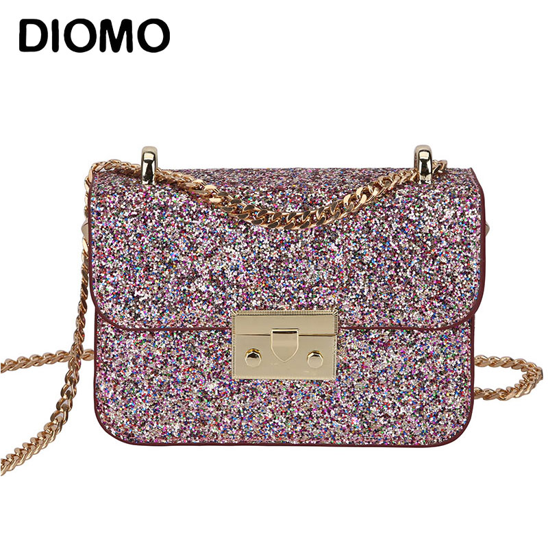 DIOMO Women Messenger Bags Female Sequins Shining Small Chain Shoulder Bags Crossbody Luxury Handbags Women Bags Designer glitter sequins women pu chain handbags messenger crossbody bags party shoulder sling bags fashion girls shinning clutch bags