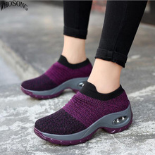 WHOSONG Spring 2019 women flat platform shoe for breathable mesh black sneakers shoes sock Casual Shoe M51