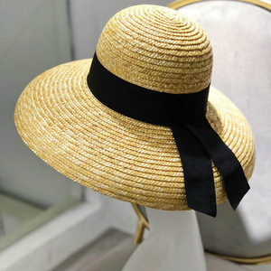 Image 3 - Wide Brim Women Sun Hat Wheat Straw Summer Beach Hat Elegant Cap UV Protection Black long Ribbon Bow Derby Travel Hats