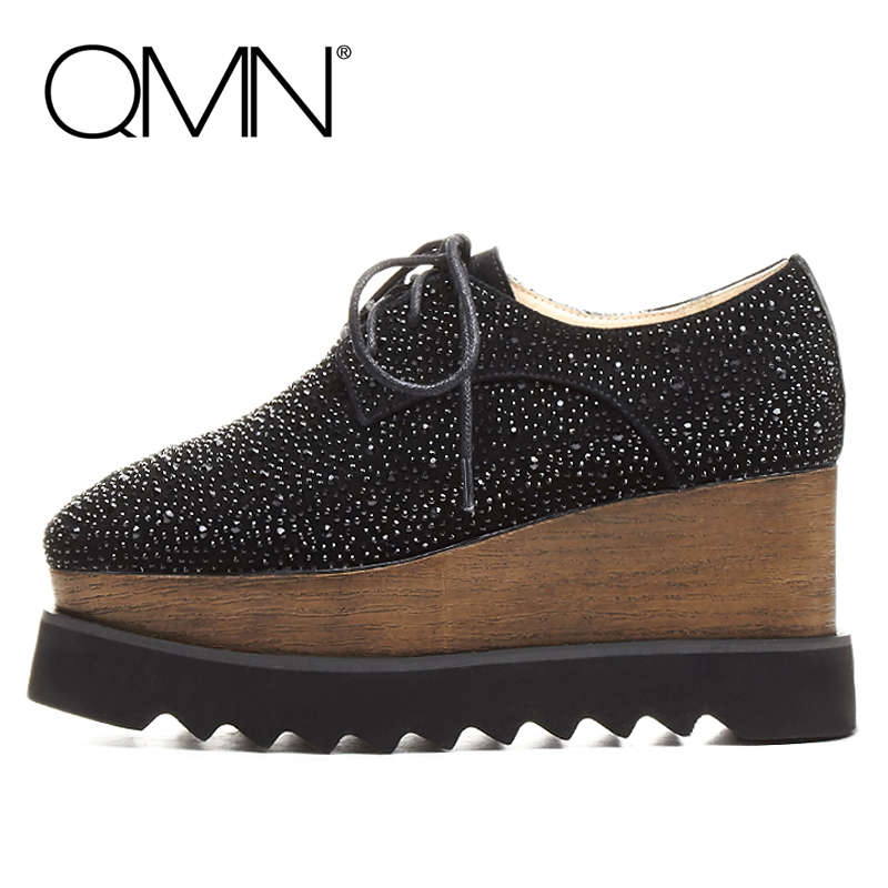 QMN women crystal embellished natural suede brogue shoes Women Square Toe Platform Oxfords Shoes Woman Genuine Leather Flats qmn women laser cut genuine leather platform flats women square toe height increasing brogue shoes woman flats creepers 34 39