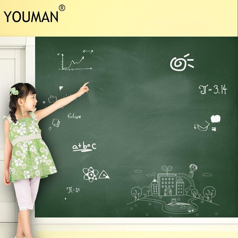 Купить с кэшбэком YOUMAN Adhesive Blackboard Film Vinyl Draw Decor Mural Chalk Board Stick Roll Chalk Board Blackboard Stickers for kids Wallpaper