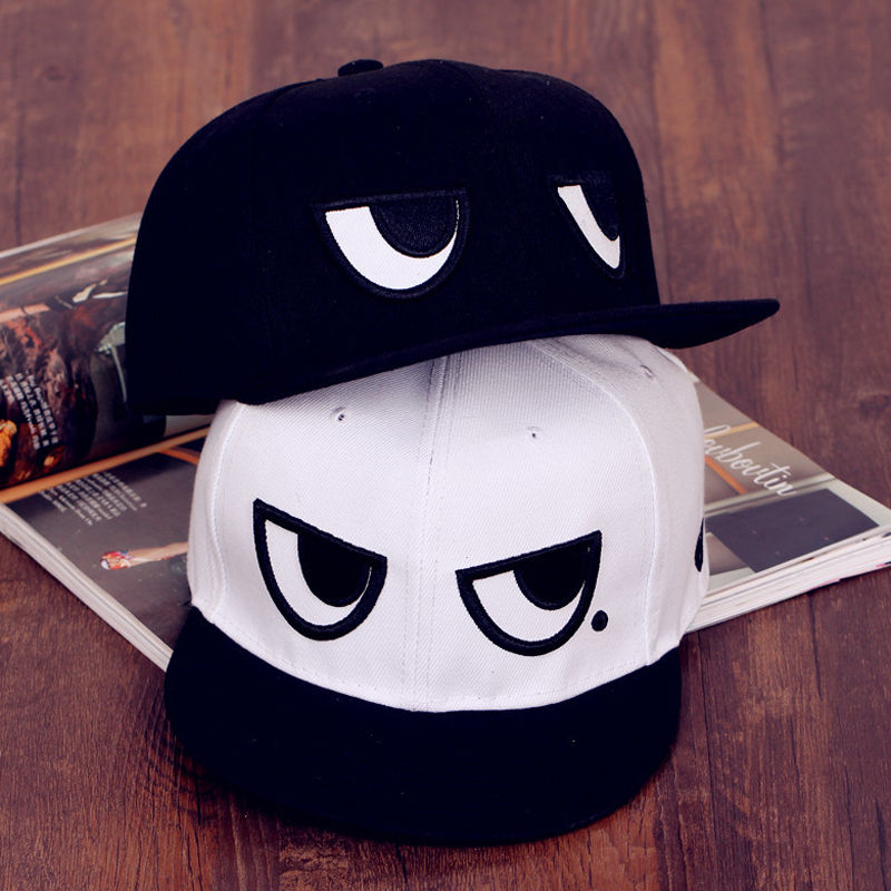 Bright Unisex Men Women Snapback Cartoon Eyes Flat Baseball Hats Hip-hop Adjustable Cap