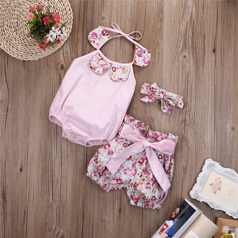 3pcs Hot Sale Summer Baby Girl Jumpsuit+Shorts Floral Print Sleeveless Romper 2017 New Arrival Fashion Outfits Set Sunsuit 0-24M
