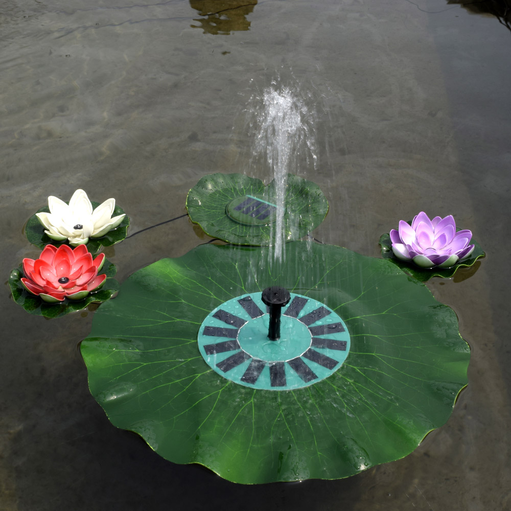 Floating solar fountain promotion shop for promotional floating 150lh 7v 14w solar water pump lotus leaf fountain floating brushless pump kit with monocrystalline solar panel for garden pond dhlflorist Images