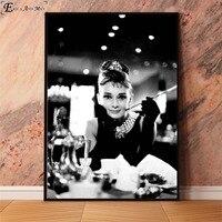 لوحة أودري هيبورن لصور الأفلام والمطبوعات الفنية للحائط لوحة قماشية لتزيين غرفة المعيشة بدون إطار