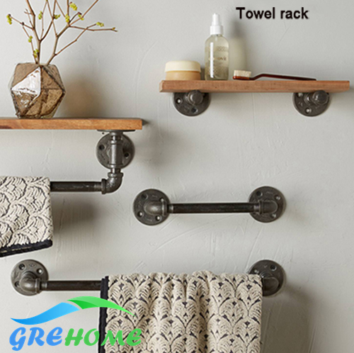 Bracket wall towel rack Towel rack Solid wood Bathroom Toilet wall Shelf rack antique industrial iron Shelf стоимость