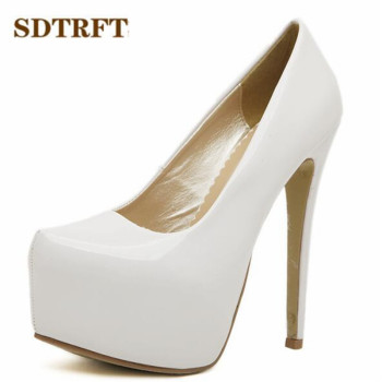 SDTRFT Plus:35-44 zapatos mujer 15cm thin high heels Patent leather platform wedding shoes woman sexy Crossdresser SM pumps