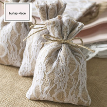 """Lace Hessian Gift Drawstring Pouch 10x15cm(4""""x6"""") Pack of 50 Burlap Packaging Bags Sack"""