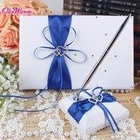 2ピース/ロット高級結婚式の装飾結婚式のゲストブックペンセットサテン弓署名ブック用パーティーの装飾