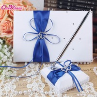 New 2014 Lavender Wedding Set Guest Book Pen Set With Rhinestone Bowknot Pearl For Bridal Groom