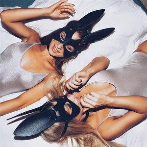 Image 3 - أقنعة تنكرية مثيرة على شكل أرنب المرأة فتاة من الجلد الأسود قابلة للتعديل لعب الكبار آذان القط الخاصة هالوين أقنعة تنكرية للحفلات