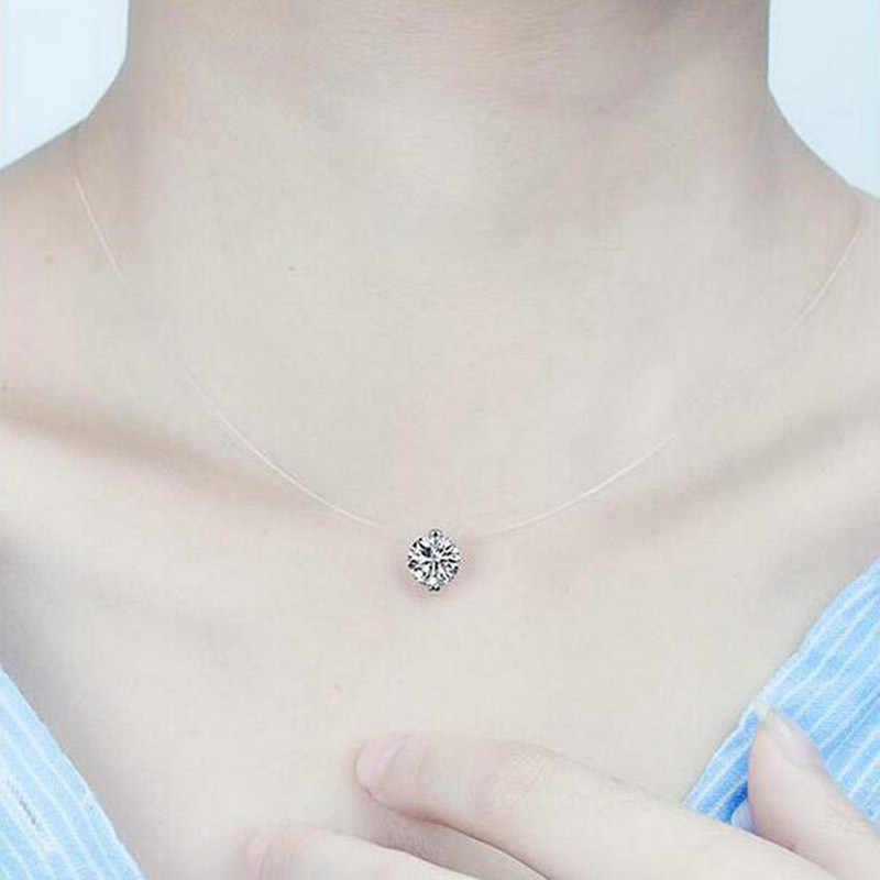 สร้อยคอสายจี้สั้นสร้อยคอผู้หญิงเครื่องประดับของขวัญ choker collares collier pendentif zircon เงิน