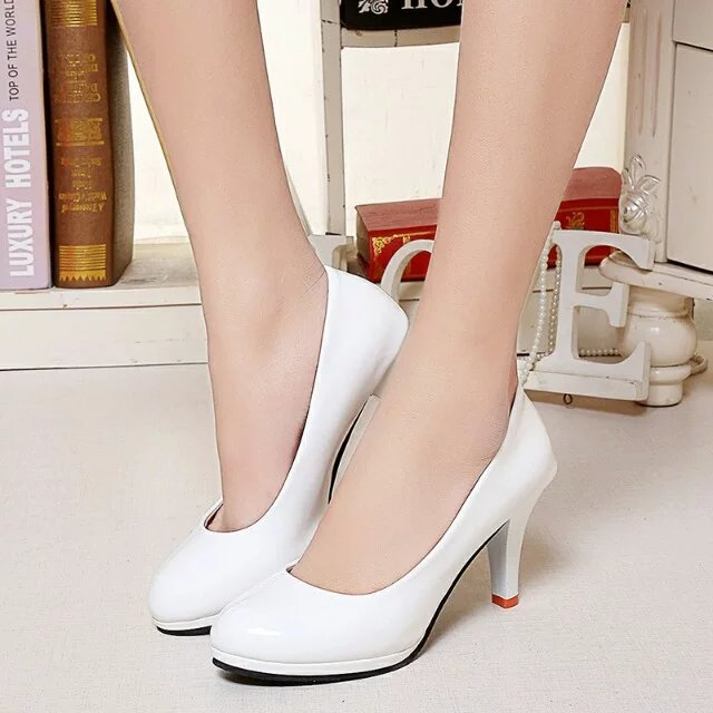 Plus size 34-42 Women Shoes High Heels Pumps Woman White Wedding Shoes  Office Lady 2aa6339355a8